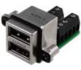Zásuvka USB A do panelu, šroubovací šroubová svorka dvojité