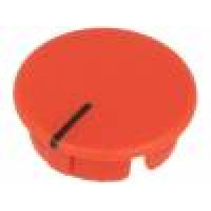 Víčko ABS červená zatlačované Ukazatel: černá Tvar: kulatý