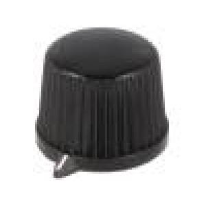 Knoflík s ukazatelem termoplast Pr.hříd:6mm Ø20x15,4mm černá