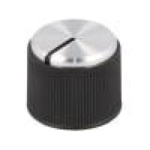 Knoflík s ukazatelem hliník, termoplast Pr.hříd:6mm černá