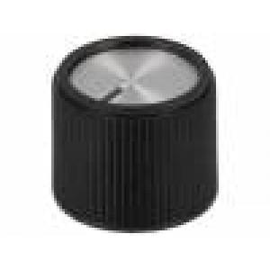 Knoflík s ukazatelem hliník, termoplast Pr.hříd:6mm Ø20x16mm