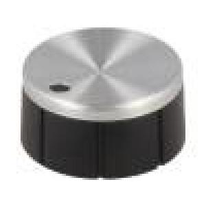 Knoflík s ukazatelem hliník, termoplast Pr.hříd:6mm Ø21x10mm