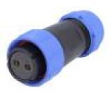 Konektor kulatý zástrčka SP21 zásuvka PIN:2 IP68 500V pájení