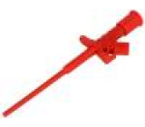Měřicí hrot s háčkem klešťový 10A červená Izolace: polyamid