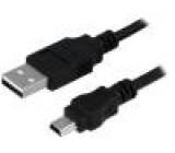 Kabel USB 2.0 USB A vidlice, USB B mini vidlice niklovaný