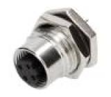 Konektor M12 zásuvka PIN:4 kód D-Ethernet zásuvka THT IP68
