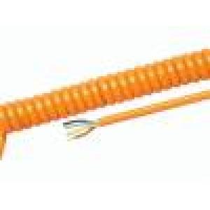 Kabel kroucený PUR oranžová 300/500V 0,3m 1,2m H05BQ-F