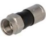 Zástrčka F vidlice přímý 75Ω RG6 krimpovací na kabel