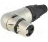 Zástrčka XLR zásuvka PIN:3 úhlové 90° otočné na kabel pájení