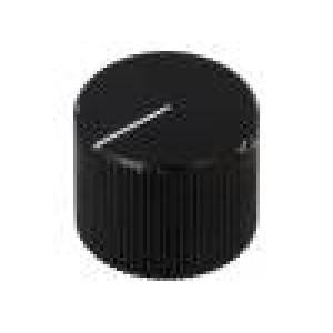 Knoflík s ukazatelem hliník Pr.hříd:6mm Ø17x13mm černá