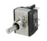 Přepínač páčkový 3 polohy DPDT ON-OFF-ON 16A/250VAC Polohy:3