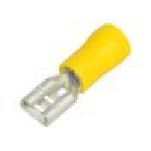 Konektor plochý 6,3mm 0,8mm zásuvka 4÷6mm2 krimpovací žlutá