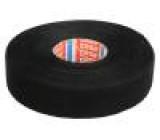 Textilní páska PET fleece 25mm L:25m černá