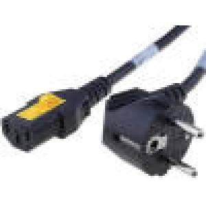 Kabel CEE 7/7 (E/F) úhlová vidlice, IEC C13 zásuvka 5m černá