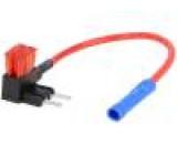 Rozbočovač 10A 2 miniaturní pojistky 1mm2 barva červená