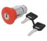 Přepínač nouzového zastavení se zámkem 2 polohy 22mm červená