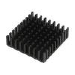 Chladič lisovaný černá L:35mm W:35mm H:10mm hliník eloxovaný