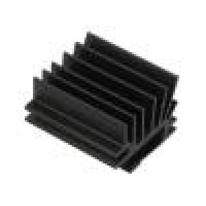 Chladič lisovaný žebrovaný TO220 černá L:30mm W:19,4mm