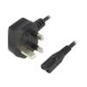 Kabel BS 1363 (G) vidlice, IEC C7 zásuvka 1,8m Zásuvky:1 PVC