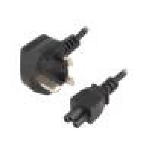 Kabel BS 1363 (G) vidlice, IEC C5 zásuvka 1,8m černá PVC 2,5A