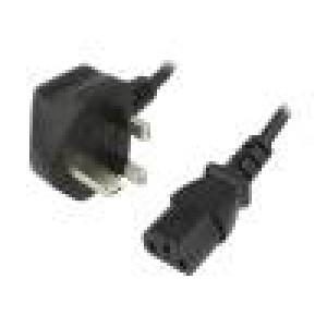 Kabel BS 1363 (G) vidlice, IEC C13 zásuvka 1,5m černá PVC