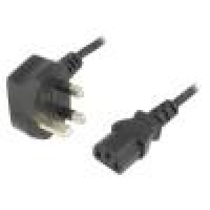 Kabel BS 1363 (G) vidlice, IEC C13 zásuvka 1,8m černá PVC