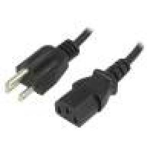 Kabel NEMA 5-15 (B) vidlice, IEC C13 zásuvka 1,5m černá PVC