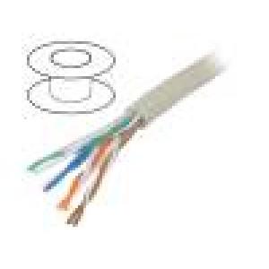 Kabel U/UTP 5e drát Cu 4x2x24AWG PVC šedá