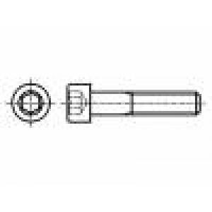 Šroub M6x100 Hlava:  Drážka: imbus HEX 5 mm DIN:912