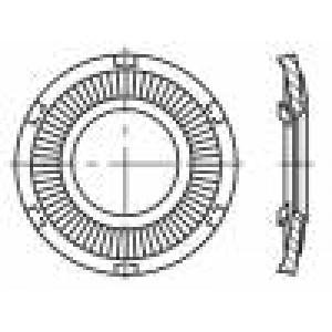 Podložka kulatá, s vnějším zoubkováním M3 D=6mm pružná ocel