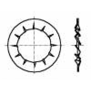 Podložka s vnitřním zoubkováním M3 D=6mm h=0,4mm DIN:6798J