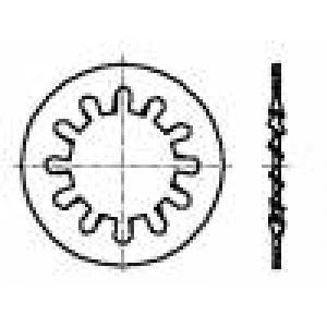 Podložka s vnitřním zoubkováním M3 D=6mm h=0,4mm ocel BN:790