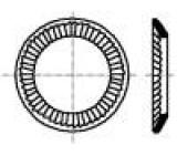 Podložka pérová, s vnějším zoubkováním M4 D=7mm h=1mm BN:792