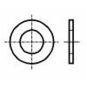 Podložka kulatá M6 D=16mm h=1mm mosaz Povlak: nikl BN:567