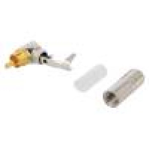 Zástrčka RCA vidlice úhlové 90° pájení stříbrná zlacený