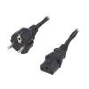 Kabel CEE 7/7 (E/F) vidlice, IEC C13 zásuvka 3m černá PVC