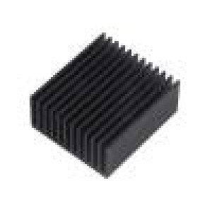 Chladič lisovaný žebrovaný černá L:50mm W:45mm H:22mm hliník
