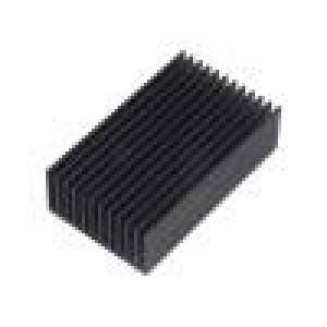 Chladič lisovaný žebrovaný černá L:75mm W:45mm H:22mm hliník
