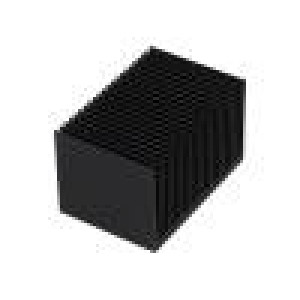 Chladič lisovaný žebrovaný černá L:50mm W:75mm H:45mm hliník