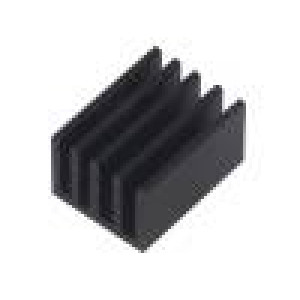Chladič lisovaný žebrovaný černá L:25mm W:19mm H:14mm hliník