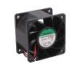 Ventilátor: DC axiální 24VDC 60x60x38mm 70,5m3/h 47dBA 24AWG