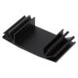 Chladič lisovaný žebrovaný TO3 černá L:37,5mm W:70mm H:15mm