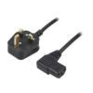 Kabel BS 1363 (G) vidlice, IEC C13 zásuvka 90° 1,5m černá PVC