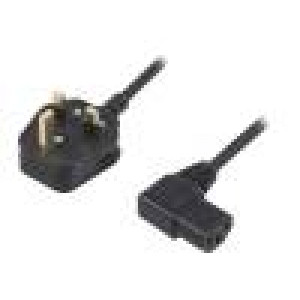 Kabel BS 1363 (G) vidlice, IEC C13 zásuvka 90° 1,8m černá PVC