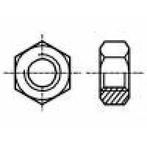 Matice šestihranná M3 mosaz Povlak: nikl Stoupání:0,5 5,5mm