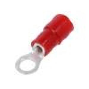 Zakončovací očko M3,5 Ø:3,7mm 0,3÷1,65mm2 krimpovací červená