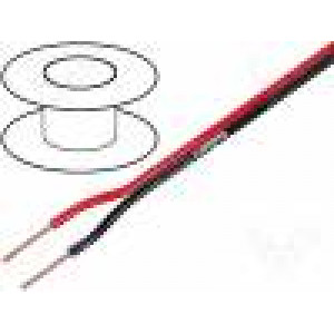 Vodič: reproduktorový 2x1mm2 licna CCA černo-červená PVC 10m