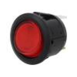 ROCKER 2 polohy SPST ON-OFF 20A/14VDC červená LED 14V DC