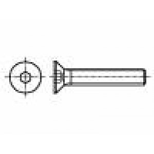Šroub M2,5x6 DIN:7991 Hlava: kuželová imbus ocel černěné