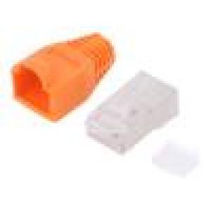 Zástrčka RJ45 PIN:8 Kat:6 stíněný, s krytkou Barva: oranžová